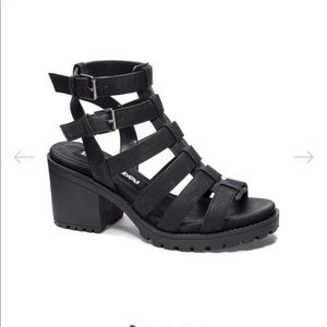 Chunky caged heeled sandals